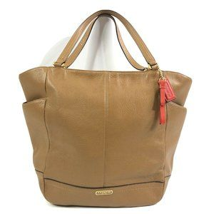 Coach Park Leather North/South Tote Brass and Tan